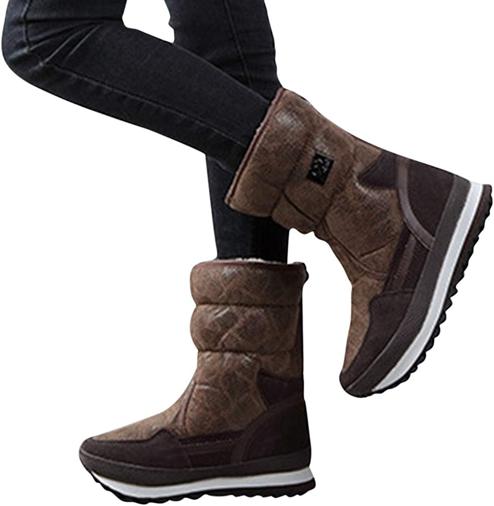 Dainzuy Womens Winter Snow Boots Keep Warm Thicken Fur Lined Ankle Boots Anti-Slip Outdoor Waterproof Platform Shoes