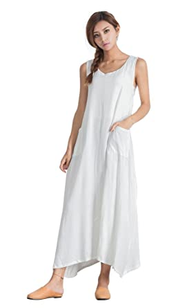 Sellse Women\'s Linen Casual White Summer Loose Large Size Long Dress Plus  Size Cotton Clothing