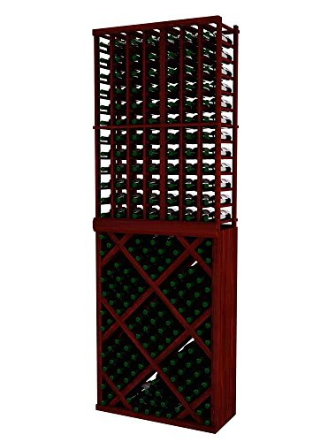 Vintner Series Wine Rack - Individual Bottle Wine Rack with Diamond Bin with Face Trim for 144 Bottles - 8 Ft - Allheart Redwood with Classic Mahogany ()