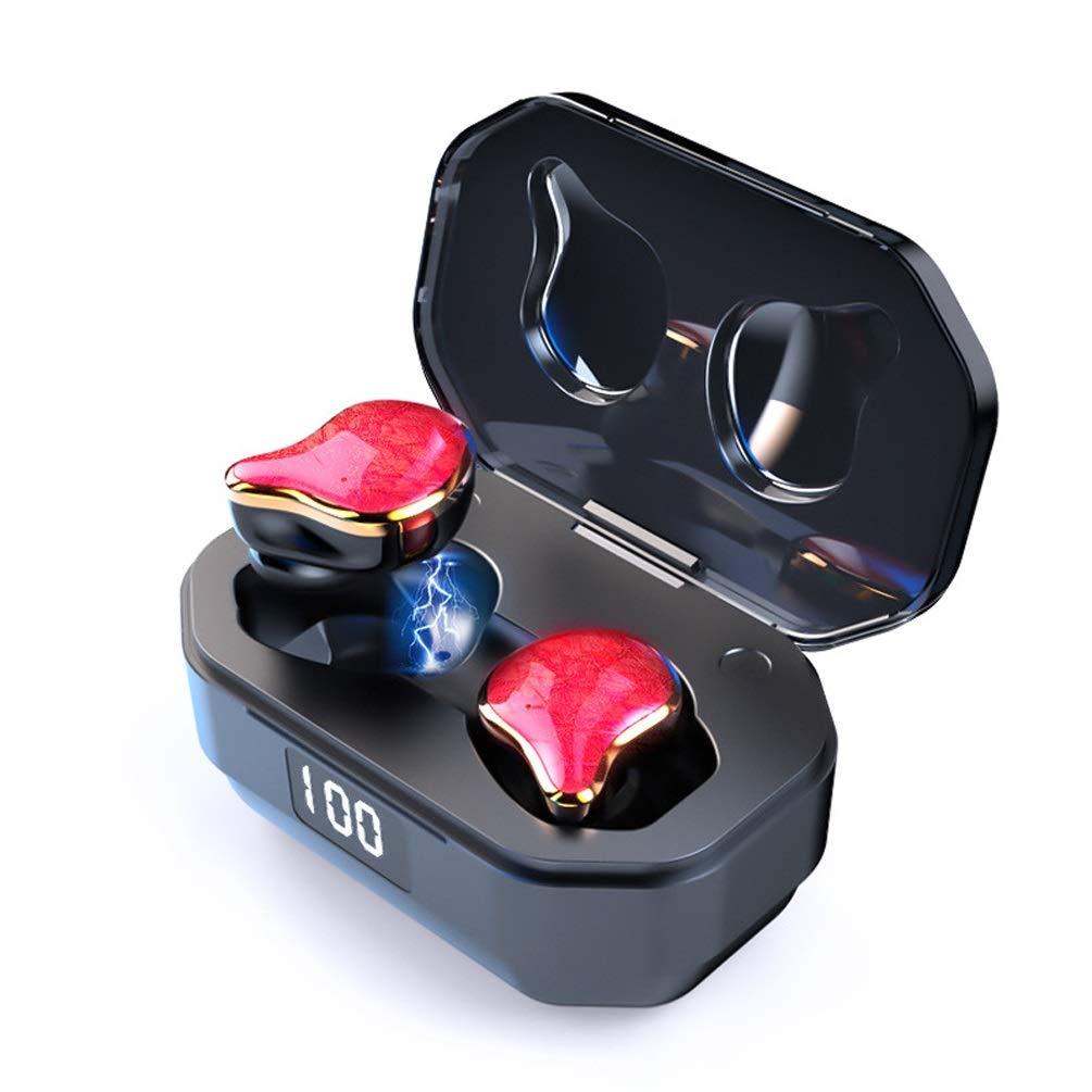 デジタルディスプレイヘッドセットブルートゥースヘッドセットミニサブウーファーバイラテラルステレオインテリジェントノイズリダクションイヤホン指紋タッチ互換性のあるアンドロイドiosシステム (色 : 赤)  赤 B07QV1MQ77