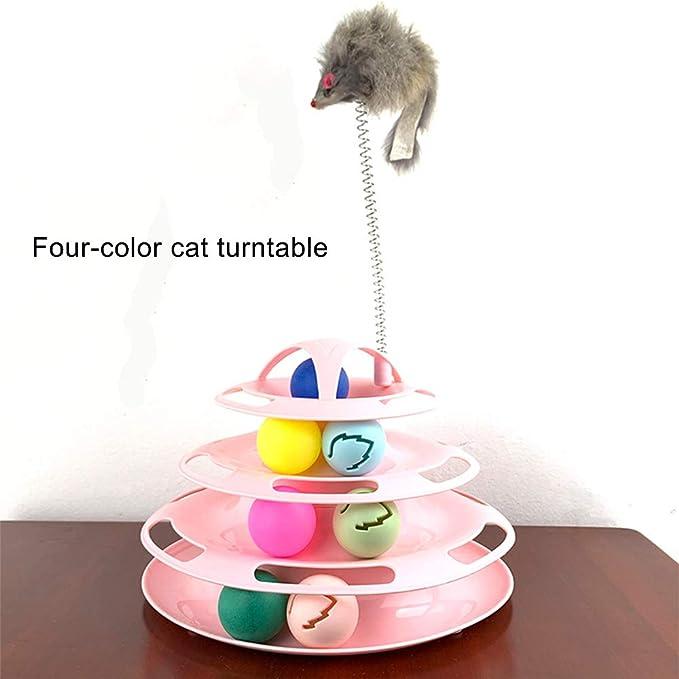 Esoes Cat Toys, Juguete Giratorio de Cuatro Capas con ratón ...