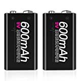 Rechargeable Lithium Battery Rechargeable Batteries 9v 600mAh Li-ion Battery Lithium Rechargeable Batteries for Wireless Microphone Multimeter 2pcs / Set