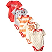 Nautica Baby-Girls Newborn 5 Pack Multi Print Bodysuits, Assorted, 6-9 Months