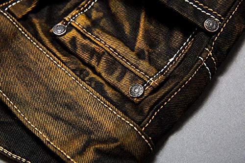 Hombres Mezclilla Retro Ssig Rectos Pantalones De Moda Mezclilla Colour Fit Color Cómodo Cómodos Pantalones Algodón Suave De De Suaves De Slim Los Vaqueros XwqxxA6vt