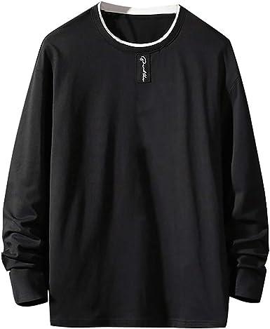 Hombre Camisetas de Manga Larga, Camiseta Algodón Cuello Redondo T ...