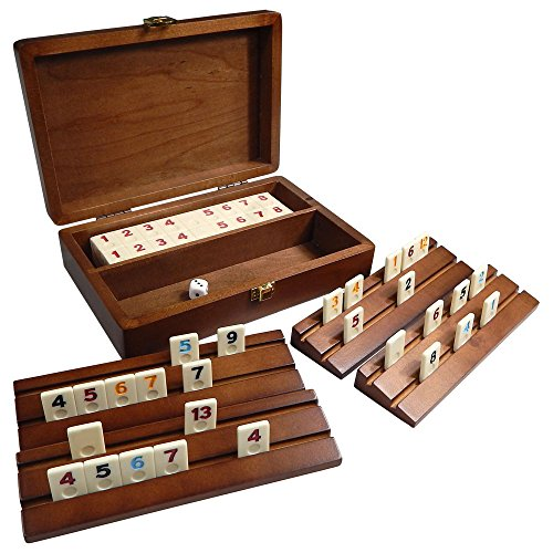 (Best Chess Set Tracy Mini Travel Rummy Tile Board Game in Wood Case with Wooden Racks and Urea Tiles)