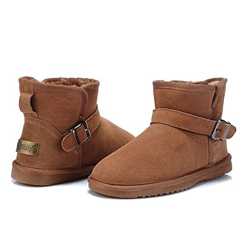 Casual Booties Closed Lining Flat Women's HSXZ Toe Boots Ankle Shoes Camel Winter Toe Leather Black Comfort for Boots ZHZNVX Fluff Snow Boots Dark Round qRa6Cx