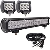 LED Light Bar, Bangbangche 20'' 126W Flood Spot Combo LED Bar with 10FT 40A Fuse Wiring Harness, 2X 18W Spot Led Pods Lights, Bright, Jeep Boat Truck Tractor Off Road, 1 Year Warranty