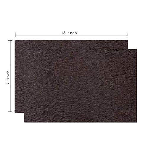 2 Pieces Leather Patch, Adhesive Backing Leather seat Patch for Repair Sofa, Car Seat, Jackets, Handbag, 13 by 7 Inch, Dark Brown