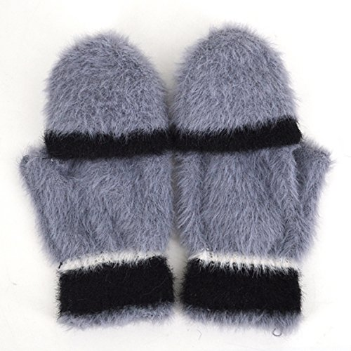 Women Cute Half Finger Gloves Flip Top Convertible Mittens Plush Faux Fur Mitts(Grey) by Mily (Image #5)