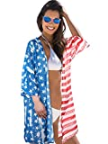 Women 4th of July Costume Accessories Includes American Flag Print Kimono Loose Chiffon Cardigan and Patriotic Sunglasses