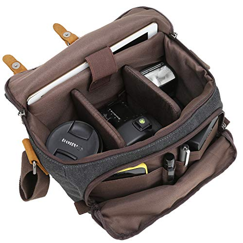 BLUBOON Vintage Canvas Camera Bag Shockproof Leather DSLR SLR Messenger Shoulder Bag Waterproof (Black-L)