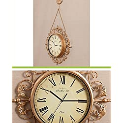 Europeanism Iron Art Wall Clock Creative Mute Carving Metal Clock 8 Inch (Color : Gold)