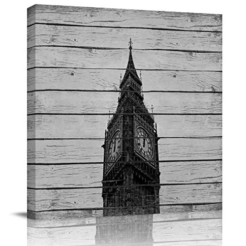 Square Wall Art Painting Pictures Print On Canvas Art The Picture Home Collection,London Big Ben Printed On Vintage Wood Grain Artwork for Wall Decor,Stretched by Wooden Frame,Ready to Hang,8x8 Inch]()