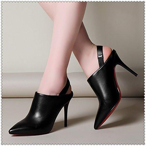 WSS chaussures à talon haut Talons hauts minces fait après que nue irrigation irrigation cuir élastique marée filles sexy bottes Chaussures femmes . black . 36