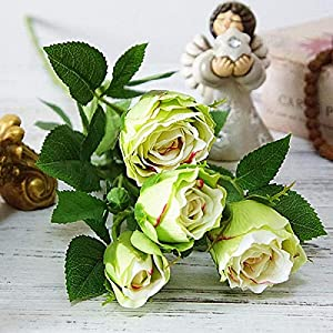 HOMZE Fall Decorations Artificial Ranunculus Asiaticus Rose Fake Flowers Silk Flores artificiales for Autumn Wedding Decoration kunstbloemen A6 24