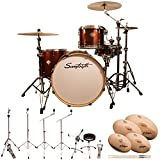 "Sawtooth ST-COM-4PC-24-RS-S Command Series 4-Piece Shell Pack with 24"" Bass Drum, Hardware & Zildjian S Family Cymbals, Red Streak"