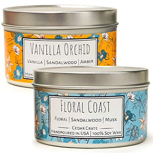 Wild Escapes | Vanilla Orchid | Floral Coast | Luxury Scented Soy Candles | 8 Oz. Travel Tin Candle | Made in The USA | Decorative Aromatherapy | Unique Gifts for Women or Men | Mom, Wife | 2 Pack