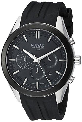 Pulsar Men's PT3681 Chronograph Analog Display Japanese Quartz Black Watch