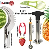 5 Pcs Fruit Slicer Set, Huller Knife Set include Pineapple Corer+Watermelon Slicer+Melon Baller Scoop+Strawberry Huller+Avocado Gadget, Excellent Kitchen Tools & Gadgets by iMustech