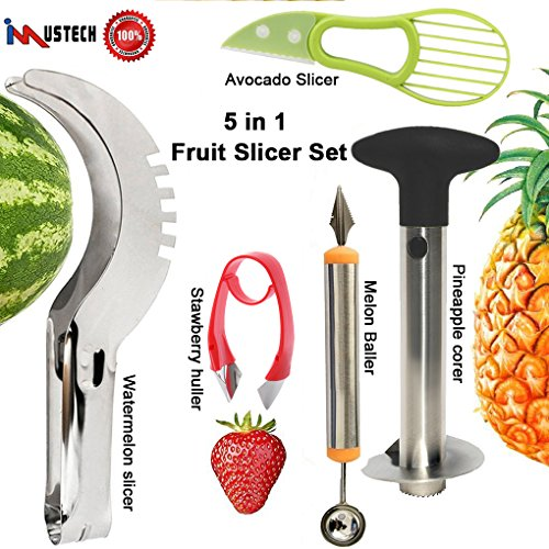 5 Pcs Fruit Slicer Set, Huller Knife Set include Pineapple Corer+Watermelon Slicer+Melon Baller Scoop+Strawberry Huller+Avocado Gadget, Excellent Kitchen Tools & Gadgets by iMustech by iMustech