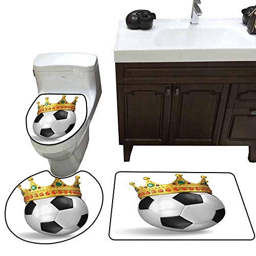 Printed Bath Rug Set King Football Soccer Championship Inspired Ball Crown with Ornaments Image Print Customized Black White and Gold ()