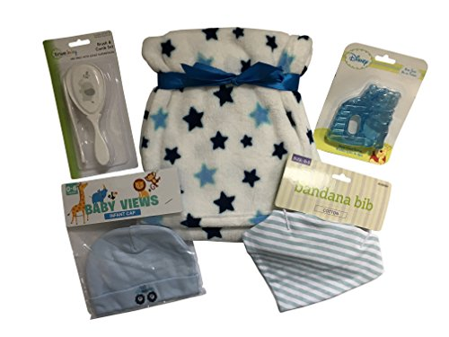 (Baby Boy Essentials 5 Piece Gift Set with Ultra Soft Blanket, Bandana Bib, Infant Hat, Winnie the Pooh Water Filled Teether and Brush/Comb Set (Blue))