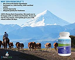 Ultra-Pure Desiccated Beef Liver, Grass-Fed, Pasture-Raised Cows. No Hormones or GMO. Natural Energy and Workout Boost from Iron, Amino Acids, Protein and Vitamins. 120 Capsules 750 Mg.