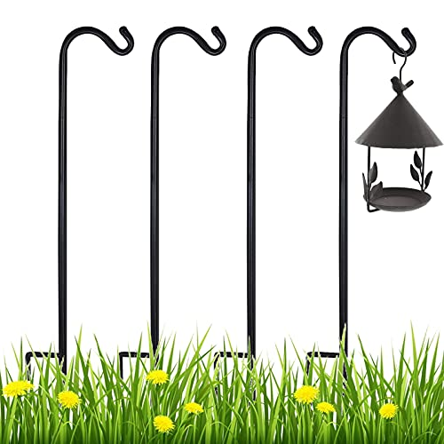 Ointo Garden Shepherd Hook 4 Pack 35 Inch Tall, 2/5 Inch Thick Bird Feeder Pole, Rust Resistant Metal Shepards Garden Hook for Outdoor Hanging Plants, Wedding,Decor,Lantern,Holiday Decorations