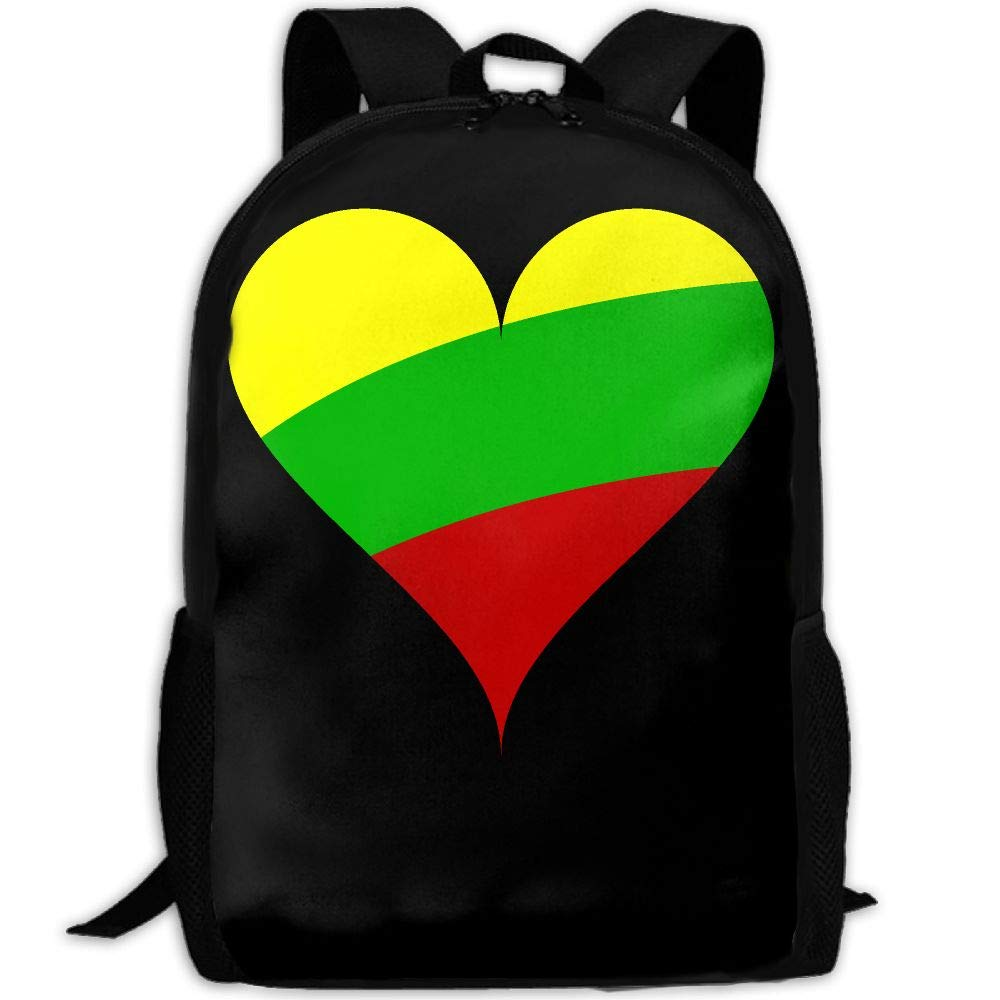 OIlXKV Heart Love Flag Lithuania Print Custom Casual School Bag Backpack Multipurpose Travel Daypack For Adult