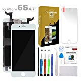 Compatible with iPhone 6S Screen Replacement White 4.7' LCD Display with 3D Touch Screen Digitizer Full Assembly + Front Camera + Earpiece + Free Screen Protector + Repair Tools Kit (White)