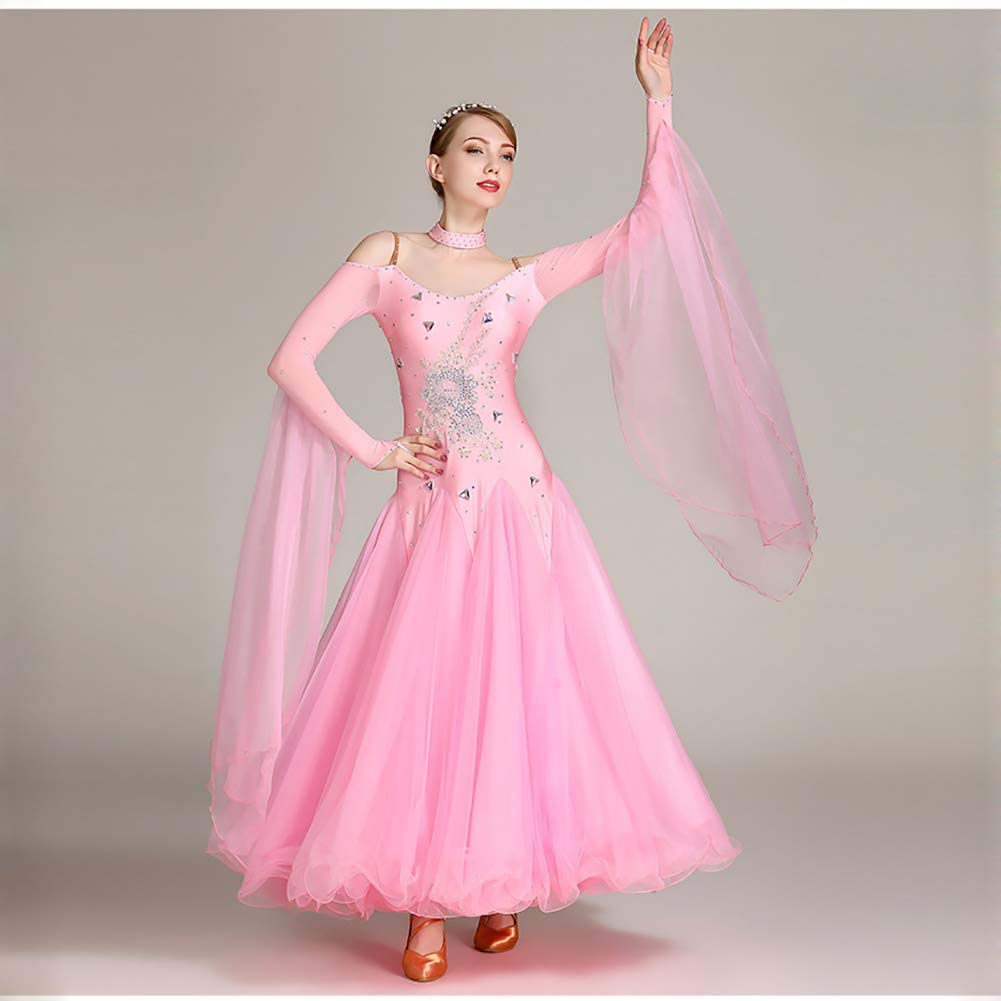 Pink L Women's Long Sleeves Dance skirt Dresses Flexible Stage Costumes Elegant Party Competition Dress