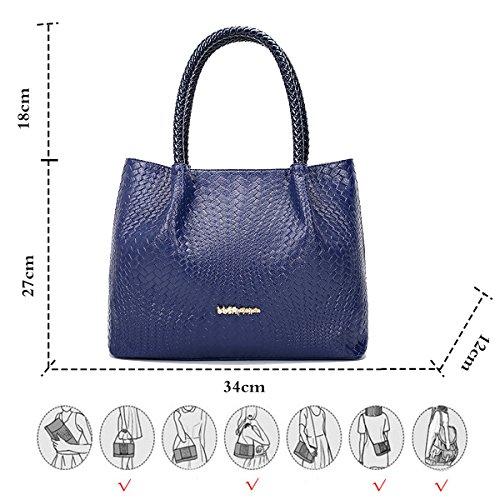 Mujer Mango Real Azul para Largo Bolso de Patrón Azul Real Mano Tejido Coolives qCX81