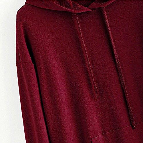 Magliette Sexy Donna Eleganti Ragazza T Pullover Top Cappuccio Maniche Felpa Rosso Vino Stampa Amare Shirt Lunghe Sciolto Taglie Forti Rovinci Felpe qan5Stx8SF