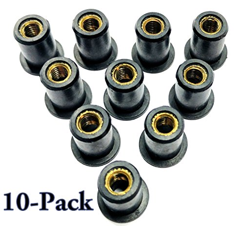 10 Pcs- Rubber Well Nuts w/ M5 Brass Insert 5mm Metric wellnuts Motorcycle -