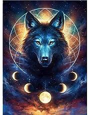 POENOEN Black Wolf 5D Diamond Painting Kits for Adults, Custom Full Drill Cross Stitch Diamond Art Kits for Kids, Crystal Rhinestone Diamond Dotz for Home/Decor/Gift (12x16in)