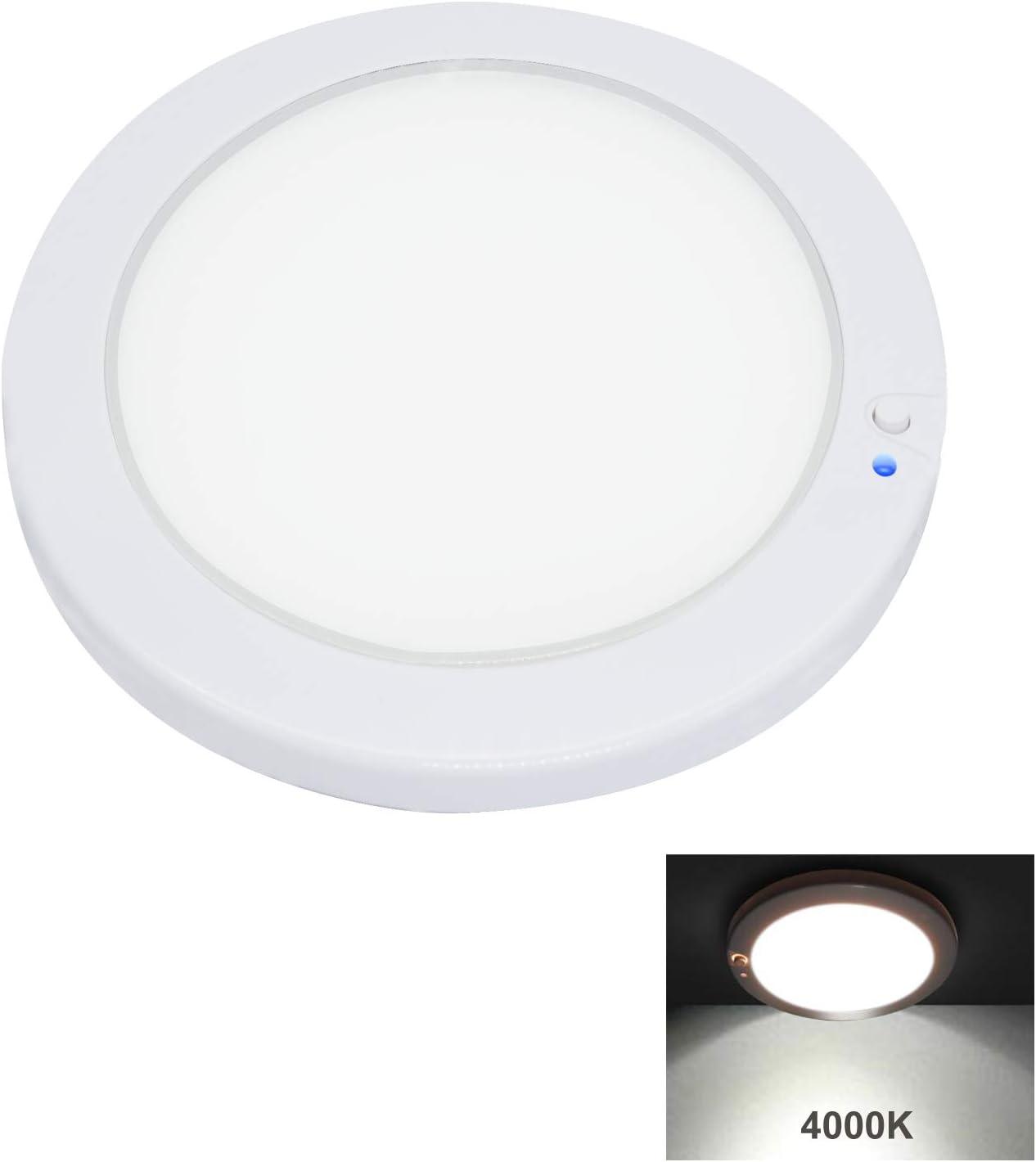 Facon 12.5cm Luz del Panel LED de 12V Luz Interior del techo de la pared del techo con atenuador e indicador de encendido / apagado para RV, Autocaravana, Caravana, Barco, Remolque, Marino (4000K)