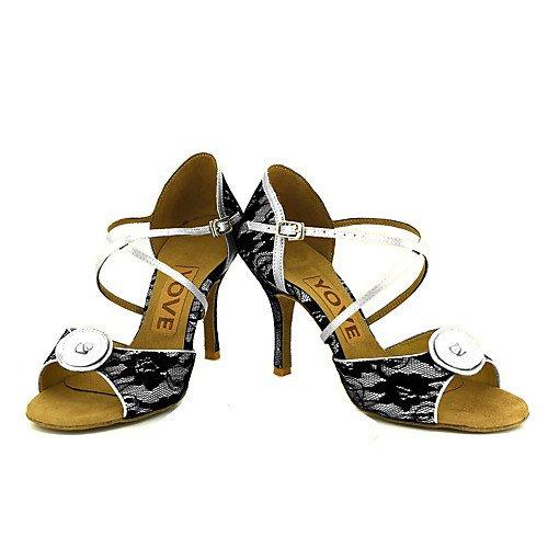 femminile Tango Scarpe Indoor T latini bianca Q da Swing Salsa Jazz ballo Performance bianchi T Practice Professione Sandali 7wgtwq