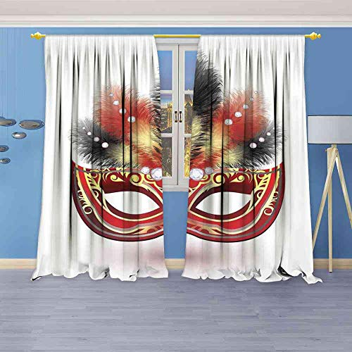 - Tr.G Blackout Curtains Masquerade,Party Mask with Feathers and Diamond Figures Traditional Festive Design,Black Red Yellow Thermal Insulating Blackout Curtain W108 x L96(274cm x 245cm)