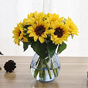 Artfen Artificial Sunflowers 6 Pcs Fake Sunflowers Preserved Flower Bouquet Bride Bridesmaid Holding Flowers Artificial Flowers for Home Hotel Office Wedding Party Garden Craft Art Decor 3
