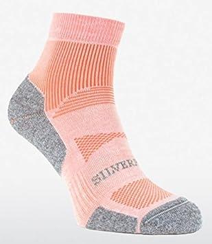 Silverpoint Mujer Ritmo Performance corte bajo calcetines técnicos para exteriores – Par, color Rosa -