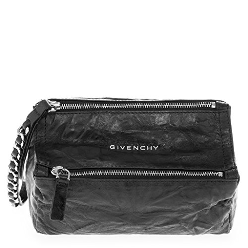 givenchy-womens-pandora-top-zip-grained-chain-link-strap-wristlet-black