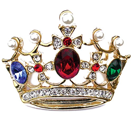 PinMart's Gold Plated Multi-Colored Rhinestone Crown Brooch Pin
