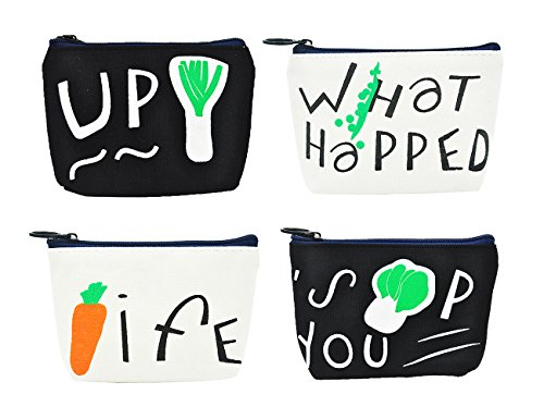 iSuperb Pack of 4 Canvas Coin Purse Cute Cartoon Animal Zipper Small Wallet for Coins Cash Cards USB Headset keys (Vegetable & Letter)