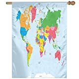 HUANGLING Classical Colorful Map Of World In Political Style Travel Europe America Asia Africa Decorative Home Flag Garden Flag Demonstrations Flag Family Party Flag Match Flag 27''x37''