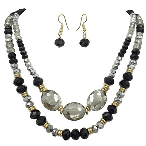 Beaded Gold Tone Jewelry Set (2 Row Glass Beaded Gold Tone Necklace & Earring Set - Assorted Colors (Black Hematite Grey))