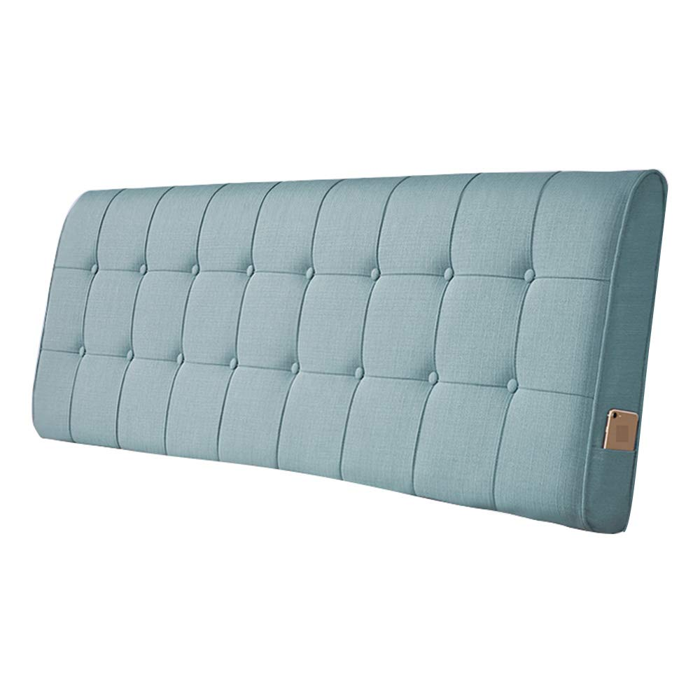 Cyan bluee 90×10×60CM Headboard Cushion Side Bar Bed Wedge Large Backrest Pad Reading Pillows Cover Linen Fabric Bedside Soft Pack Removable