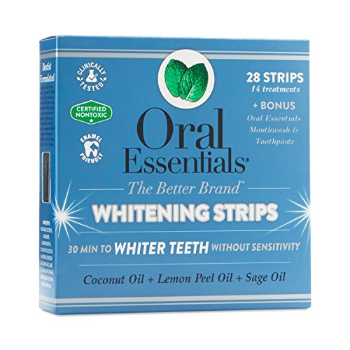 (Oral Essentials Whitening Strips 14 Treatments No Sensitivity or Peroxide/Clinically Tested/NonToxic)