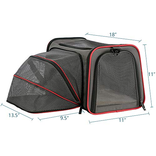 "Petsfit Airplane Cabin Travel Expandable Pet Carrier for Dog and Cat Under 15 Pounds, 18"" x 11"" x 11"""