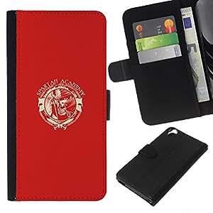 YiPhone /// Tirón de la caja Cartera de cuero con ranuras para tarjetas - Spartan Academia - HTC Desire 820